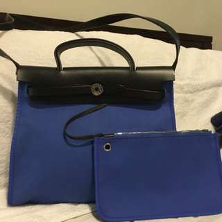 Authentic Hermes Herbag Blue with pouch.. Mint Condition