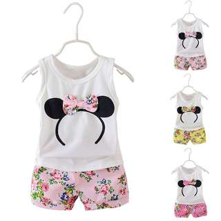 3pc Summer Girls Kids Children Casual Floral Cotton A-shirt Tops+ Shorts Set Outfit