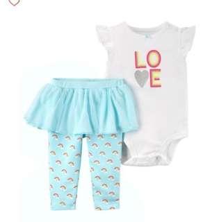 *12M* BN Carter's 2-Piece Bodysuit & Tutu Pant Set  For Baby Girl