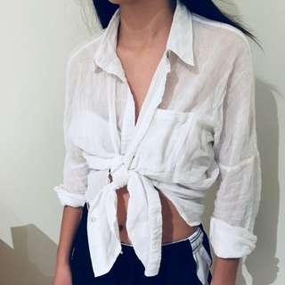 Sheer white button up shirt