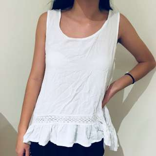White grill lace tank top