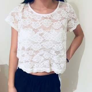 DOTTI lace top button up back