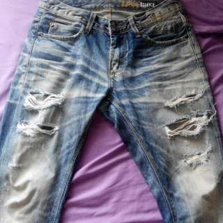 Logo Ripped Jeans