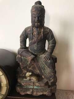 明朝木雕关公。 高35cm