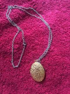 Stainless locket necklace two tone