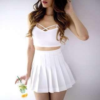American Apparel Inspired White Tennis Skirt