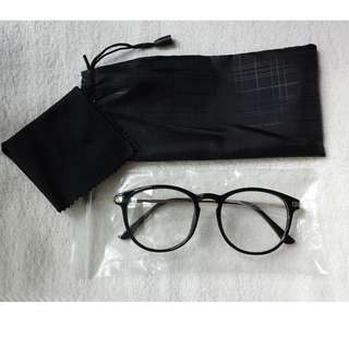 Glossy Black Brand new vintage Eyewear Spectacle Frame Glasses Clear lens with Gold Grip Rod