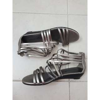 Metallic Silver Gladiator Sandals