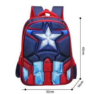Brand New 3D Captain America School Bag For SALE! SGD39! With FREE GIFT! Last Pcs!