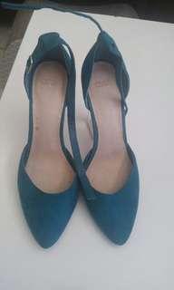 Teal perspex block ankle strap heels
