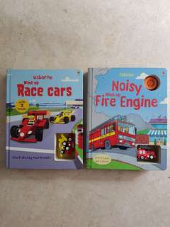 Usborne wind up books (Race Cars and Fire Engines)