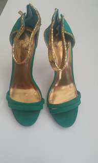 Emerald green & gold ankle strap heels
