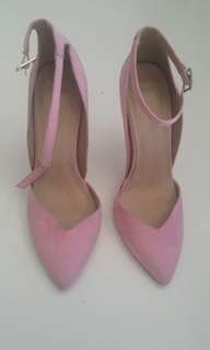 Pink suede Pointed ankle strap heels