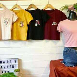 Pocket crop tees
