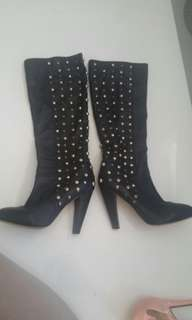 Black Tony Bianco gold & gunmetal studded leather block heel slouch boots