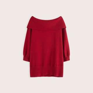 【全新,原價690→比五折還便宜$300】PAZZO質感翻領設計針織上衣-紅 F