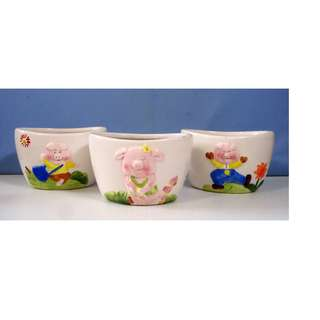 Ceramic flower pot cartoon design set of 3 new