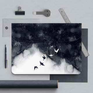 Monochrome Black White Soaring Birds Macbook Laptop Sleeve