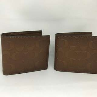 Coach Compact ID Wallet Embossed Saddle (also available in Embossed black and Embossed Mahogany)