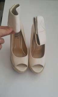 Nude ankle strap peep toe faux leather burlap wedge heels