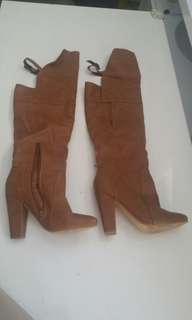 Tan faux leather over the knee block heel boots