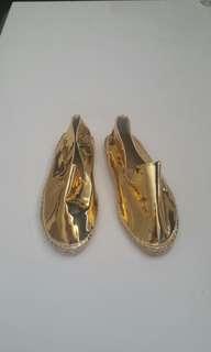 Metallic gold patent espadrilles