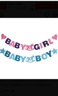 Baby girl. Baby boy banner. Bunting. Baby shower