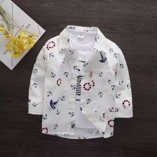🚚 《預購》男童春秋花襯衫夏韓版嬰兒童薄1~7歲小童長袖寶寶襯衫