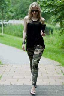Camouflage pants with black top