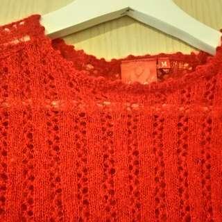 紅色輕薄毛料保暖上衣