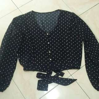 Brand New! Polka Buttoned Semi Crop Top