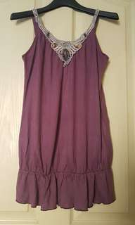 Purple Sleeveless Top with embroidered design