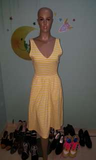 Yellow stripes midi dress