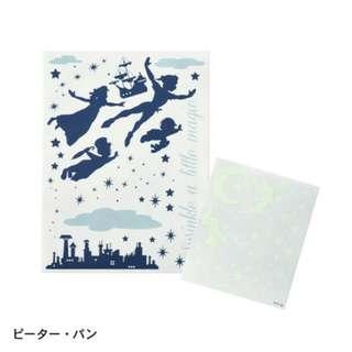 現貨 日本製 Disney Petit Gallery Peter Pan Tinkerbell Wall Stickers 小飛俠 螢光牆貼