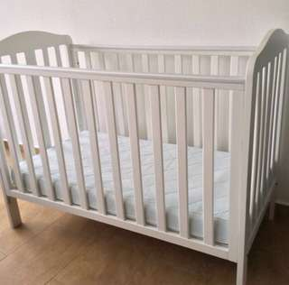 Mothercare Darlington Dropside Cot + IKEA Vyssa Vackert Cot Mattress Bundle Deal