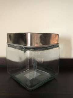 Glass jar Container - square with metal lid