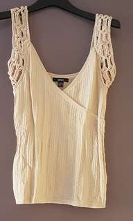 Mango cream top knitted sleeves plunging neckline
