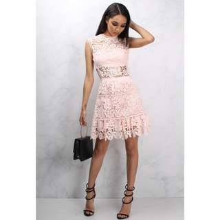 BN TOPSHOP Pink Crochet Lace Cut Out Flare Dress