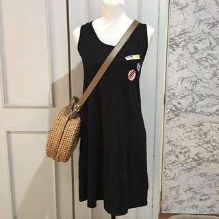 Black Patch Midi Dress fits up to M