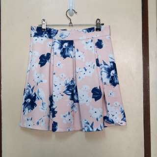 Peach and Blue Floral Skirt