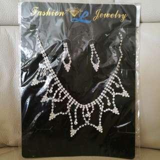 仿鑽首飾耳環頸鏈 earring necklace