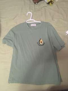 """green """"let's avocuddle"""" shirt"""