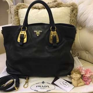 Authentic PRADA BN1902 Tessuto Shopping Leather Tote