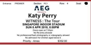 Katy Perry - 2 tickets - Cat 1 - Row 4
