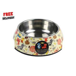 'S' Non Slip Single Stainless Steel Pet Dog Cat Feeding Bowl ('S' Design: Animals)