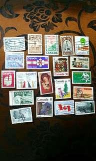 郵票 20個 (已蓋銷)- 加拿大篇🌎