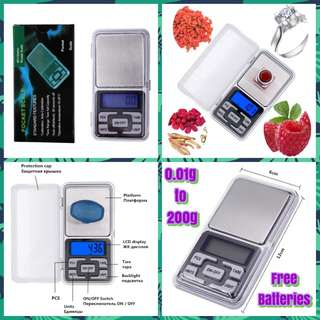 ⚖ Pocket Weighing Scale / Digital Weighing Scale (0.01g to 200g) with Free Batteries