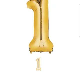 """35"""" Number 1 Balloon - Gold P5"""