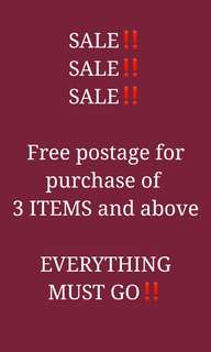 FREE POSTAGE FOR 3 ITEMS AND ABOVE