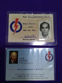 PAP Member Card (sign by Mr Lee Kuan Yew)